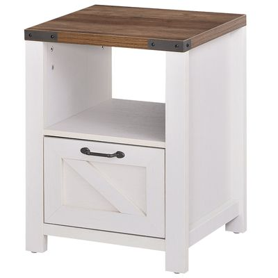 HOMCOM Industrial Side Table with 1 Drawer 1 Open Shelf and Big Tabletop for Living Room or Bedroom, White