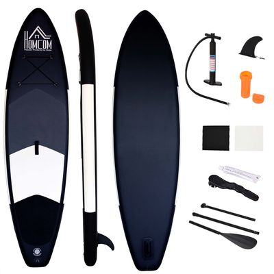 HOMCOM Inflatable Surf Boards W/ Paddle  Fix Bag  Air Pump  Fin  Backpack -Grey  White