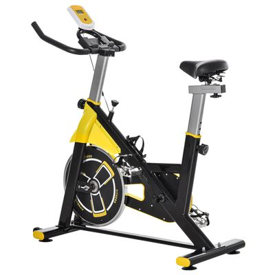 Soozier Stationary Exercise Bike, Indoor Cardio Workout Cycling Bike with Belt Drive Adjustable Resistance, Seat, Handlebar w/ LCD Display for Home Gym