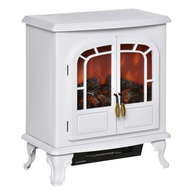 HOMCOM Electric Fireplace Stove Heater with LED Fire Flame Effect, Double Door, Freestanding & Portable with Overheat Protection, 750W/1500W, White