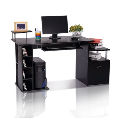 "HOMCOM 59.8"" Wood Computer Desk Laptop Table Office Home Drawer Shelf  Black"