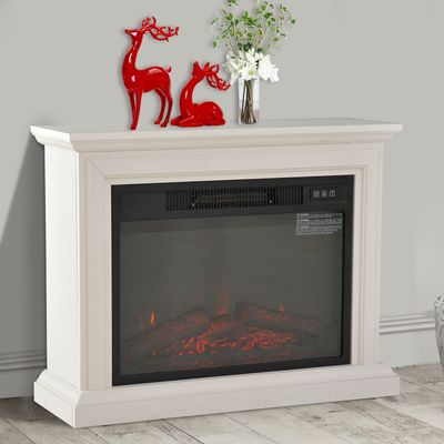 HOMCOM Portable Electric Fireplace Freestanding LED Wood Fire Realistic Flame Stove Heater 1400W White