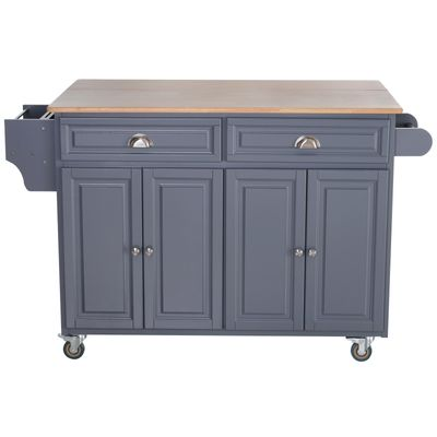 HOMCOM Rolling Kitchen Island on Wheels Ultility Cart with Drop-Leaf and Rubber Wood Countertop, Storage Drawer, Door Cabinet, Grey
