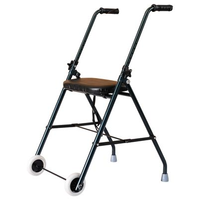 HOMCOM Folding Adjustable Walker Rollator Healthcare Wheeled Mobility Walking Aid with Seat Aluminum Lightweight