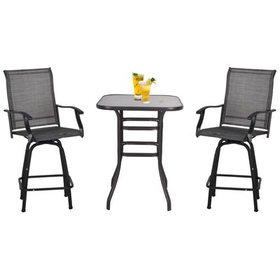 Outsunny 3 Piece Outdoor Patio Bar Set  2 Swivel Stool and 1 Bistro Table  All-Weather  Metal Frame for Balcony  Backyard  Deck  Grey