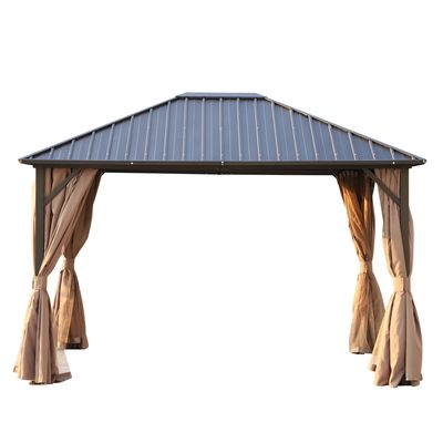 Outsunny 12x10ft Hardtop Patio Deluxe Steel Gazebo Garden Sun Shelter Aluminum Frame Heavy Duty Outdoor Hardroof Pavilion with Curtains and Netting Brown