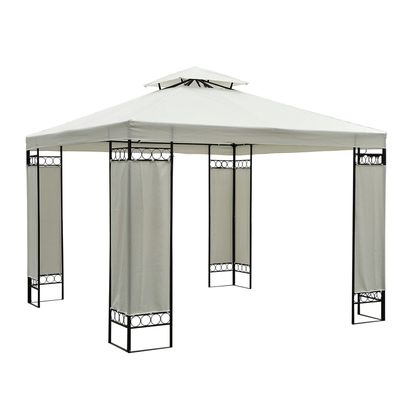 Outsunny 9.84x9.84ft Square2-Tier Gazebo Canopy Replacement Water-resistant UV Protected (Cream White)