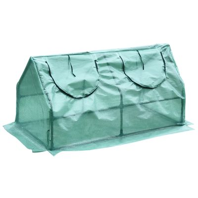"Outsunny 47.25""x23.5""x23.5"" Portable Mini Tunnel Greenhouse Garden Planting Shed Flower Box 2 Windows Green"