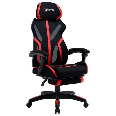 Vinsetto Mesh Office Chair Desk Task Computer Recliner with Footrest, Lumbar Back Support, Swivel Wheels, Adjustable Height, Black Red