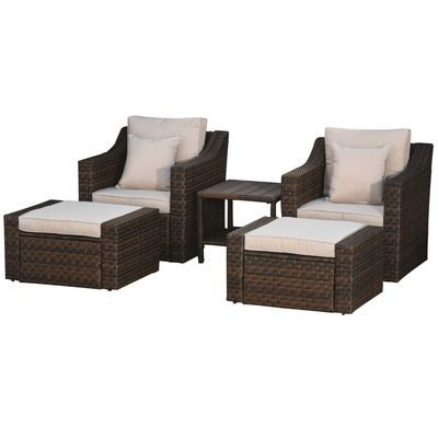 Outsunny 5-Piece Patio Rattan Wicker Conversation Set Outdoor Furniture with 2 Cushioned Armchair, 2 Ottomans and Coffee Table, Beige