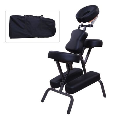 "HomCom 3"" Foam Portable Massage Chair PU Leather Spa Beauty Chair Black"