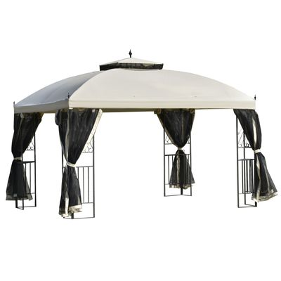 Outsunny 12' x 10' Outdoor Patio Gazebo Canopy with Double Tier Roof, Removable Mesh Sidewalls, Triangular Display Shelves, Beige