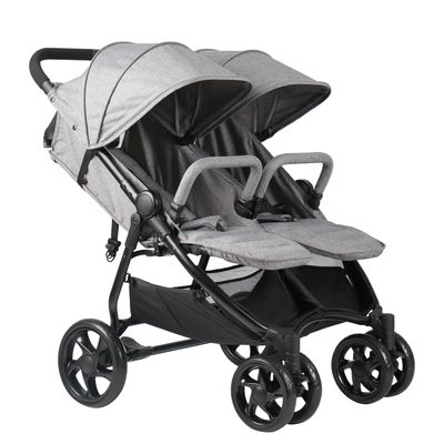 Qaba Side by Side Baby Double Stroller for Toddlers Twin Pushchair with Adjustable Backrest Foot Holder Canopy Safety Harness and Storage Basket Shock Suspension Grey