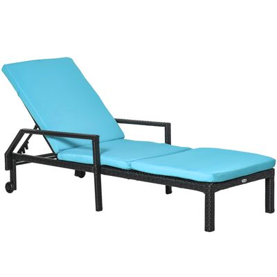 Outsunny Outdoor PE Rattan Wicker Sun Chaise Lounger Recliner Garden Chair  with 5-Level Adjustable Backrest and 2 Wheels, Blue
