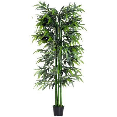 Outsunny 6FT Artificial Bamboo Tree Fake Decorative Plant with Nursery Pot for Indoor Outdoor Décor