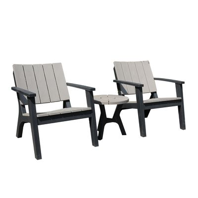 Outsunny 3 Piece Garden Coffee Set Outdoor Garden Furniture Set with 1 Round Table and 2 Armchairs Patio, PP, Grey
