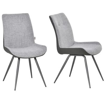 HOMCOM Modern Dining Chairs Upholstered Fabric and PU Leather Accent Chairs with Metal Legs for Kitchen, Set of 2, Grey