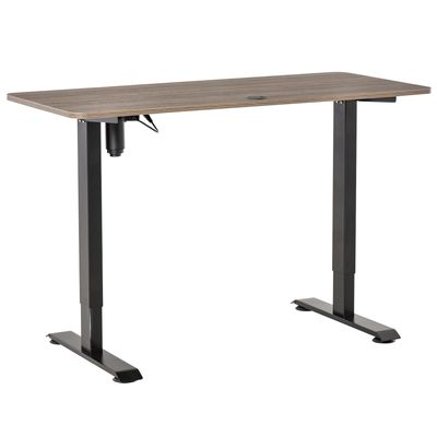 Vinsetto Electric Height Adjustable Standing Desk with 4 Memory Controller, 54 x 24 Inches Sit Stand Home Office Desk with Splice Board. Teak and Black