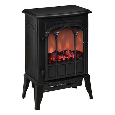 HOMCOM Electric Fireplace Stove, Freestanding Fireplace Heater with Realistic Flame, Adjustable brightness, Overheating Safety System, Black