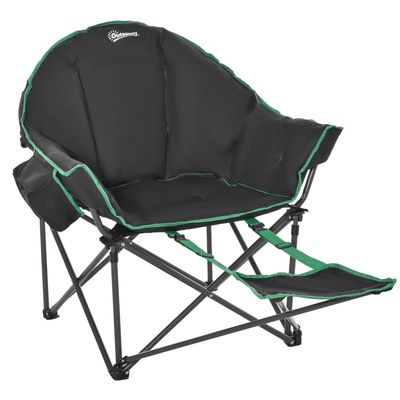 Outsunny Foldable Fishing Camping Chair with Carry Bag & Adjustable Footrest for Outdoor, Beach, Picnic, Hiking, Travel