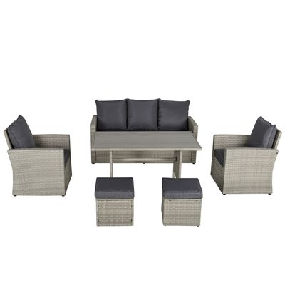 Outsunny 6 PCS Outdoor Patio Dining Table Sets All Weather PE Rattan Sofa Chair Furniture set Indoor Outdoor Backyard Garden with Cushions & Plastic Wood Table Top Grey