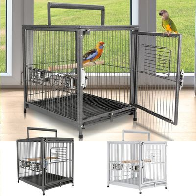 "PawHut Parrot Travel Carrier Portable Aviary House 18"" Portable Heavy Duty Travel Bird Cage"