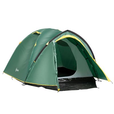 Outsunny Camping Dome Tent 2 Room for 3-4 Person with Weatherproof Vestibule Backpacking Tent Large Windows Lightweight for Fishing & Hiking Green