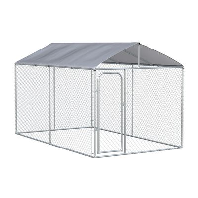 PawHut Dog Kennel Heavy Duty Playpen with Galvanized Steel Secure Lock Mesh Sidewalls and Waterproof Cover for Backyard & Patio, 13' x 7.5' x 7.5'