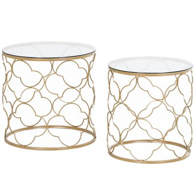 HOMCOM 2 PCS Nesting Table Coffee End Table Set Modern Chic Elegant Decor Gold