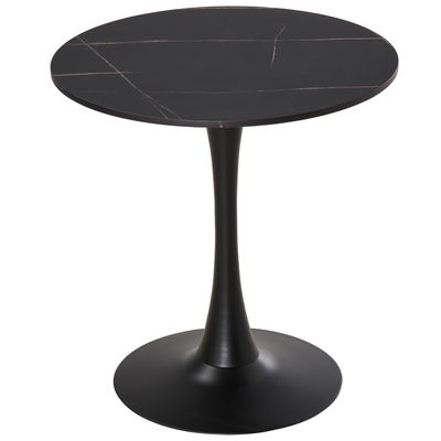 HOMCOM Modern Round Dining Table Leisure Coffee Bistro Table with Metal Base for Kitchen & Dining Room, Faux Black Marble