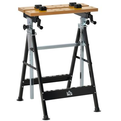 HOMCOM Work Bench Tool Stand with Adjustable Height and Angle, Carpenter Saw Table with 4 Clamps, Steel Frame, 220lbs Capacity