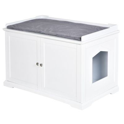 PawHut Cat Hidden Litter Box Enclosure Bench Hall End Table Pet Kitty Cabinet Wood