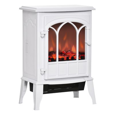 HOMCOM Electric Fireplace Stove, Freestanding Fireplace Heater with Realistic Flame, Adjustable brightness, Overheating Safety System, White