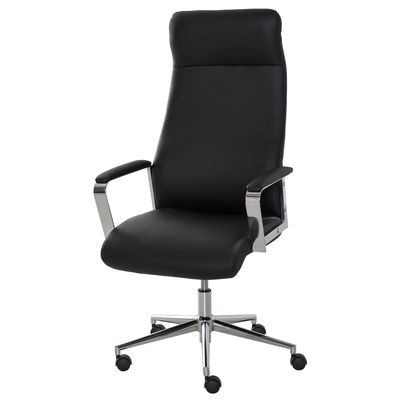 Vinsetto Office Chair Faux Leather High-Back Rocker Swivel Computer Desk Chair with Wheels  Steel Base  Black