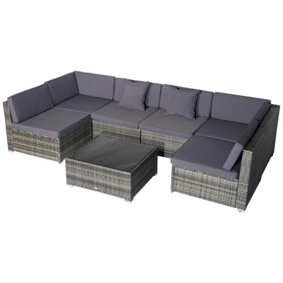 Outsunny 7pc Garden Wicker Sectional Set w/ Tea Table Patio Rattan Lounge Sofa  with Cushion Outdoor Deck Furniture All Weather Grey