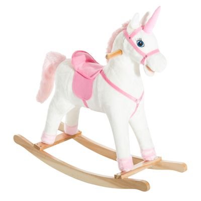 Qaba Kids Ride On Rocking Unicorn Toy Plush Girls Gift w/Song Kids Plush Rocking
