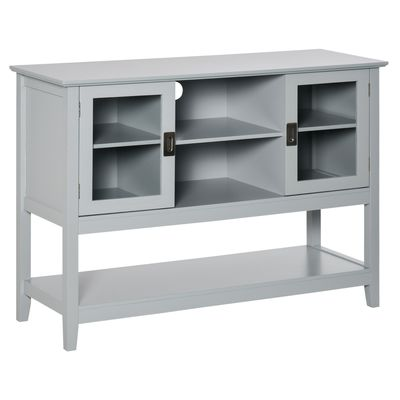 HOMCOM Modern Sideboard Accent Console Table Buffet with Glass Doors & Storage Shelf, Grey