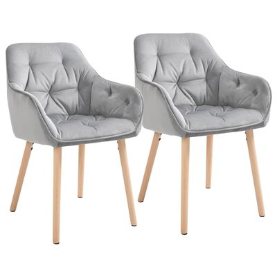 HOMCOM Tufted Dining Chairs Upholstered Velvet-Touch Fabric Accent Chairs with Beech Wood Legs Set of 2  Grey