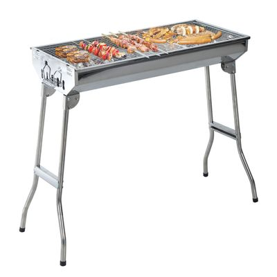 """Outsunny 29"""" Portable Folding Stainless Steel Charcoal BBQ Grill for Outdoor Camping Backyard Cook, Silver"""