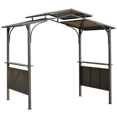 Outsunny 8' x 5' Grill Gazebo Outdoor BBQ Gazebo Canopy with Side Shelves Double Roof Great Ventilation Aluminium