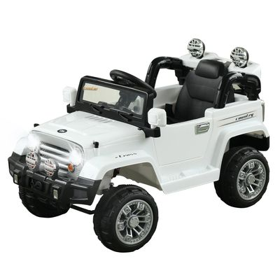 Aosom 12V Kids Electric Ride On Toy Truck Jeep Car With Remote Control 2 Speeds Lights Mp3 Lcd Indicator White