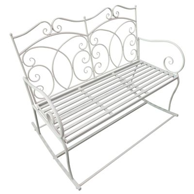 Outsunny 2 Seater Metal Garden Bench Rocking Chair White