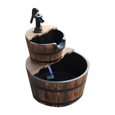 Outsunny 2-Tier Wooden Barrel Water Fountain with Electric Pump Cascading Feature Outdoor Indoor Decoration
