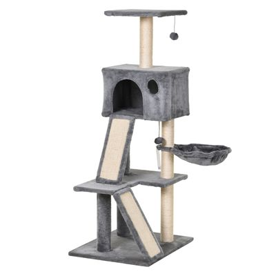 PawHut Cat Tree Tower with Sisal-Covered Scratching Posts and Ladders for Climbing and Playing