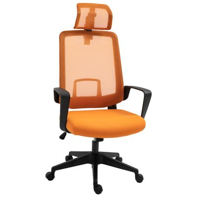 Vinsetto Mesh Office Chair High Back Swivel Task Chair with Arm, Rotate Headrest, Adjustable Height, Yellow