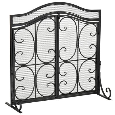 HOMCOM Fireplace Mesh Screen Cover with Double Door, Steel Fire Spark Guard Art Modern Decoration for Living Room, Bedroom, Black