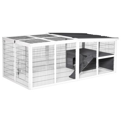 PawHut Indoor Outdoor Wooden Rabbit Hutch Small Animal Cage Pet Run Cover, with Hinge roof and Water-repellent Paint, Grey