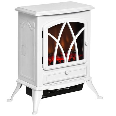 HOMCOM Free Stand Electric Fireplace Stove Heater with Adjustable LED Flame Effect and Front Door, 750W/1500W, White