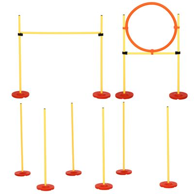 PawHut 3PCs Portable Pet Agility Training Obstacle Set for Dogs w/ Adjustable Weave Pole, Jumping Ring, Adjustable High Jump