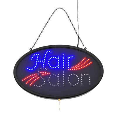LED Hair Salon Store Sign - 3 Flash Patterns - Black Board/Colourful Bulbs